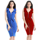 women's office ladies Ruffles V-neck office work Bodycon dress clothes clothing