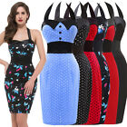 Women's Elegent Halter Pinup Polka Ball Evening Prom Party Short Swing Dress