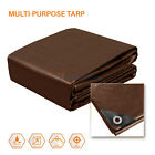 Brown Multi-Purpose Tarp Poly Tarpaulin Canopy Tent Shelter Car HeavyDuty 15 Mil