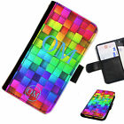 (INI97-T42) PERSONALISED INITIAL RAINBOW BLOCKS PU LEATHER PHONE CASE COVER