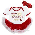 Baby Personalized Name First Valentine's Day White Red Bodysuit Tutu Dress