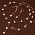 Multilayer Fashion Pearl Necklace Bracelet Earrings Gold Plated Jewelry Sets New