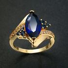 Fashion Womens Gold Filled Marquise Cut Sapphire Zircon Engagement Rings Sz 6-10