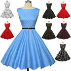 50s 40S Vintage Blue Red Black Polka Dot Ladies Dress size XS-XL PLUS