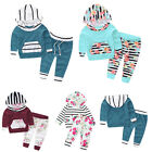 Infant Baby Boy Girl Clothes Hooded Floral Striped Tops + Pants Outfits 2PCS Set