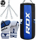 RDX Pro 3FT Leather Punch Bag Filled Set Boxing MMA Gloves Muay Thai Training