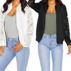 Womens Ladies Biker Celebrity Lace Sleeve Bomber Jacket Coat Outwear tb