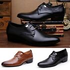 Hot Men Faux Leather Formal Shoes Male Lace-Up Loafers Breathable Comfy Flats