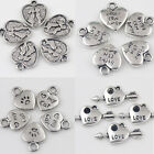 15/30Pcs Tibet Silver Heart Shapes Beaded Charm Pendants Jewelry Findings