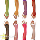 12 PAIRS OF LONG NEON FISHNET GLOVES FINGERLESS 1980'S FANCY DRESS HEN PARTY