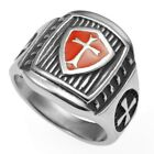SZ 7-15 Stainless Steel Crusader Cross Medieval Shield Ring Cross Knight Templar