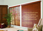 """2"""" FAUXWOOD BLINDS 36"""" WIDE x 49"""" to 60"""" LENGTHS - 4 GREAT WOOD COLORS!"""