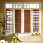 "SET OF 2 - 2"" FAUXWOOD BLINDS 9 3/8"" WIDE x 85"" to 96"" LENGTHS - Chesnut - Oak"