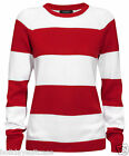 NEW LADIES WOMANS ELLOS RED WHITE STRIPE WINTER JUMPER PLUS SIZE 14-28 UK
