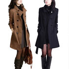 New Women Double Breasted Winter Warm Wool Long Trench Coat Jacket Outwear M-4XL