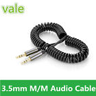 3ft Spring Coiled 3.5mm Aux Cable Male to Male Gold Stereo Audio Auxiliary Cord