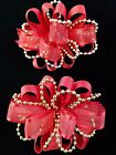 NEW Kids Girls Christmas Holiday Solid Red Gold Beads Fashion Party Hair Bow