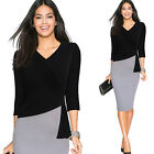 women's elegant office work wear black&gray Casual Cocktail bodycon pencil dress