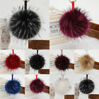 15cm Large Fluffy Faux Raccoon Fur Pompom Ball Leather Bag Charm Keyring