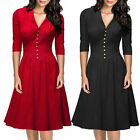 Women's Elegant sexy V-neck office ladies work wear Cocktail party Skater dress