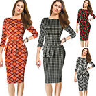 women's elegant 3/4 sleeves office ladies work wear peplum bodycon pencil dress