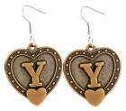 A063 Letter Y love heart Earrings U pick iron or Stainless Steel hook&circle New