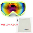 NEW WOMEN YOUTH FRAME SNOW SKI GOGGLES GLASSES ANTI-FOG LENS SNOWBOARD PERSIMMON