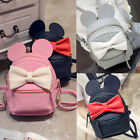 Womens Kids PU Leather Backpack Cute Mickey Bow Rucksack Travel Small Bags Hot