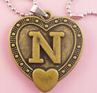 P098 Acrylic pendant iron or Stainless Steel chain U pick Letter N love heart
