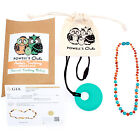 "Baltic Amber Necklace GIFT SET - Teeth Pain Relief (Turquoise/Cognac - 12.5"")"