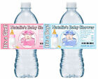 20 BABY SHOWER WATER BOTTLE LABELS GLOSSY GIFT BOX DESIGN