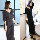 Korean Fashion Women's Puff Sleeve Wool Knit Wrap Dress with Belt-2 colors