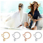 New Lover Gift Women's Silver Plated Charm Heart Crystal Chain Bracelet Bangle