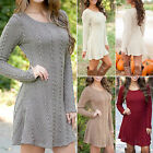 Womens Long Sleeve Knitted Sweater Pullover Jumper Tops Winter Casual Mini Dress