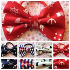 "3"" HANDMADE NAUTICAL SAILOR COTTON FABRIC BOW PONYTAIL ELASTIC HAIR BAND BOBBLE"