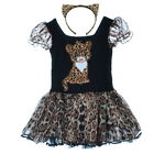 Girls Cat Print Theme Party Cotton Dancewear Leopard Two Piece Short Sleeve