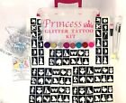 GLITTER TATTOO PRINCESS KIT 158 stencils 8 glitters glue girl in brown box