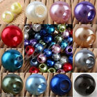 Lot 12/18/14/16mm Acrylic Faux Shine Pearl Large Hole Loose Jewelry Making Beads