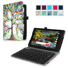 For Verizon Ellipsis 8 HD 2016 Folio Stand Cover Case With Bluetooth Keyboard