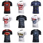 Men Marvel Superhero 3D Sports Slim Fit T-shirts Fitness Cycling Jersey Tops Tee