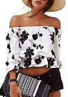 Moxeay Women's off-shoulder Floral Printed Crop Tops Blouse US Shipping