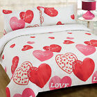 Loves & Hugs Girls Duvet Cover Set with Decorative Hearts in Red Pink & Cream