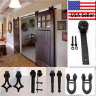 6.6 FT Dark Coffee Rustic Steel Sliding Barn Wood Door Hardware Closet Track Set