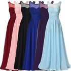 Applique Long Chiffon Wedding Bridesmaid Formal Evening Cocktail Maxi Dress New