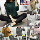 Fashion Womens Casual Long Sleeve Knitted Sweater Pullover Jumper Tops Knitwear