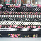 Black, Ivory & pink floral 10 piece fabric bundles 100 % cotton fabric