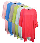 Ladies Womens Oversize Turn Up Sleeve Stylish Hem Casual Tunic Top Dress 2076