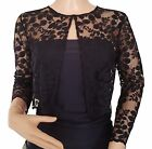 Womens Black or Dark Navy lace 3/4 sleeve  Bolero/jacket UK sizes 8 -18 <br/> By Lowlita Designs.  special occasions Polyester