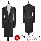 WAREHOUSE UK10 US6 GREY 50S INSPIRED PENCIL SKIRT SUIT WOMENS LADIES SIZE