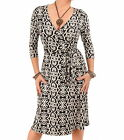 New Printed Wrap Dress - Black or Wine - Knee Length